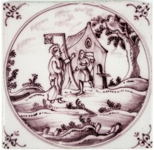 Dutch Delft tile depicting Jesus and Zacchaeus