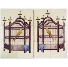 Antique Delft tile murals with bird cages and yellow canaries, 19th century Utrecht