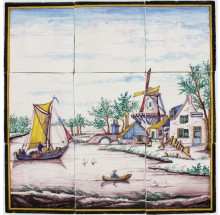 Polychrome antique Delft tile mural with a Dutch landscape scene, 19th century