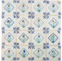 Set of sixteen antique Delft tile with polychrome flowers in diamond squares, 17th century